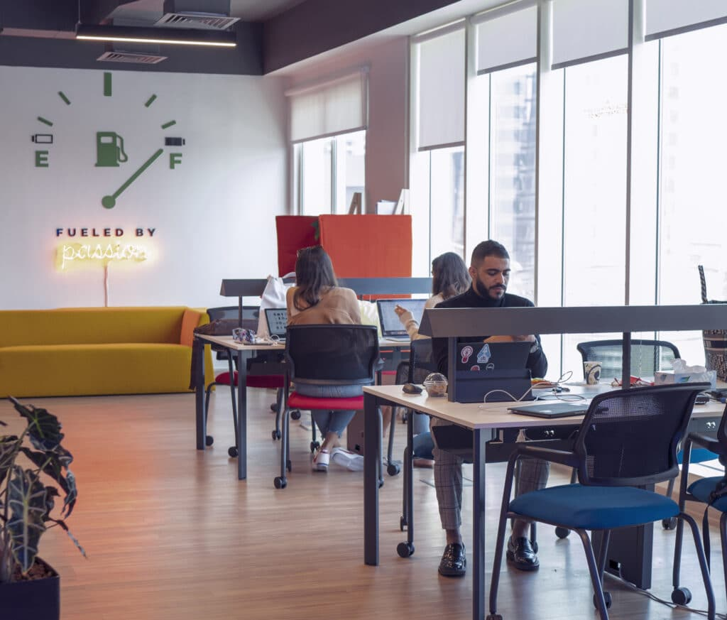 People working on coworking space