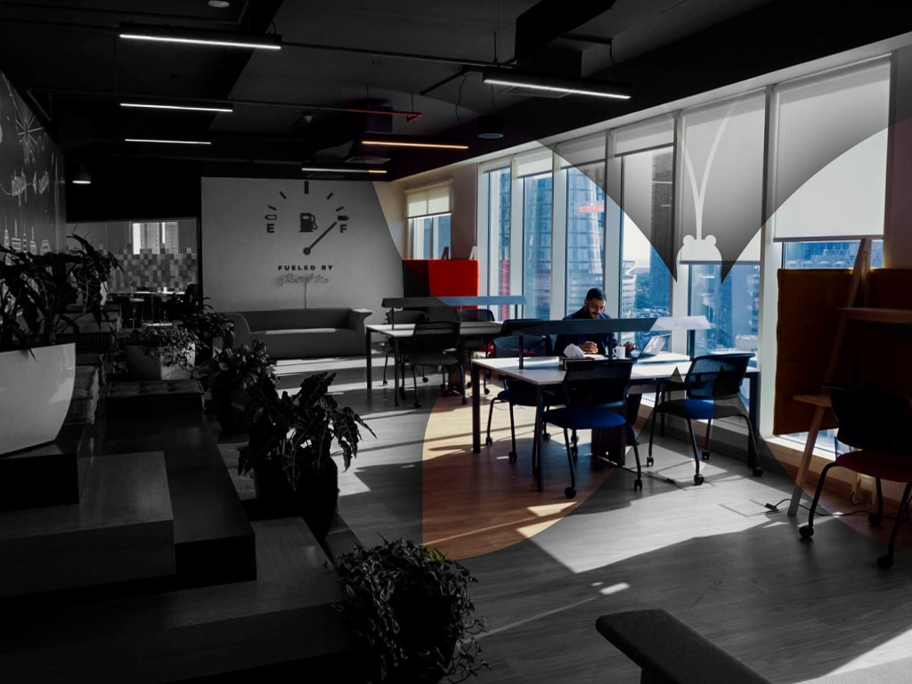 A person working alone on Coworking Space